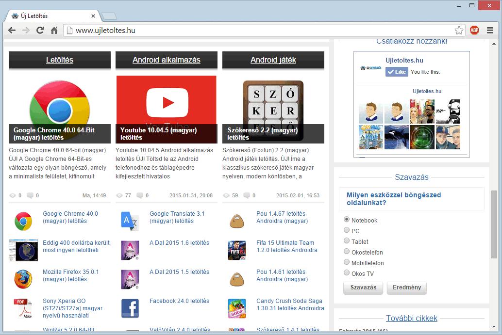 Google Chrome letöltés