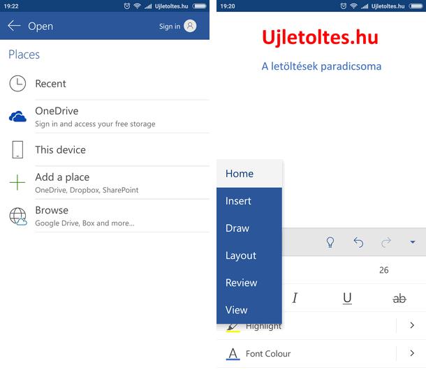 Microsoft Word szövegszerkesztő Android APK